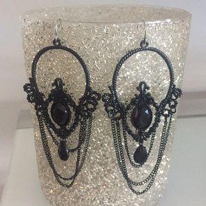 Bebe black chain dangle earrings